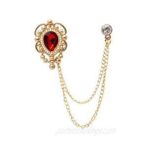 A N KINGPiiN Lapel Pin for Men Stone Detailing with Engraving Metal Crystal Chain Brooch Suit Stud  Shirt Studs Men's Accessories (Gold-Red)