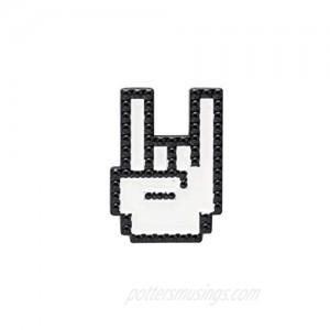 A N KINGPiiN Lapel Pin for Men White Rock On Emoji Badge Brooch Suit Stud  Shirt Studs Men's Accessories