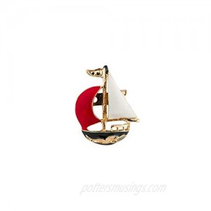 A N KINGPiiN Red And White Metal Sail Boat Lapel Pin  Brooch Suit Stud  Shirt Studs Men's Accessories