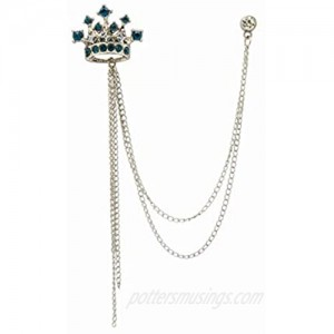 an KINGPiiN Lapel Pin for Men Crowned Stone with Hanging Chain Costume Pin Brooch Suit Stud  Shirt Studs Men's Accessories Collar Pin (Silver Aqua Blue)