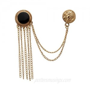 AN KINGPiiN Lapel Pin for Men Enamel with Hanging Chains and Honorary Gold Coin Detailing Brooch Suit Stud Shirt Studs Men's Accessories (Gold-Black)