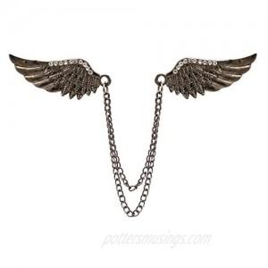 AN KINGPiiN Lapel Pin for Men Stone Detailing Double Angel Wing Tassel Chain Brooch Suit Stud Shirt Studs Men's Accessories (Black)