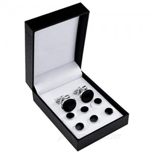 Black Silver Tuxedo Studs and Cufflinks Set  Mens Cufflinks and Cuff Studs Set Cuff Links Stainless Steel Tux Buttons with Box for Tuxedo Shirts Wedding Business Gift