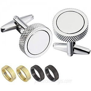 HAWSON Cufflinks and Studs Set Crystal for Men's Tuxedo Shirt for Wedding Party Accessories - Business Wedding Accessories