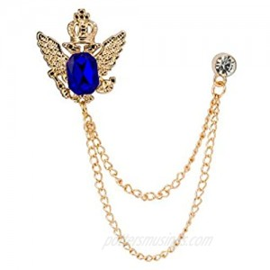 Knighthood Crowned Blue Stone with Hanging Chain Lapel Pin Badge Coat Suit Collar Accessories Brooch for Men