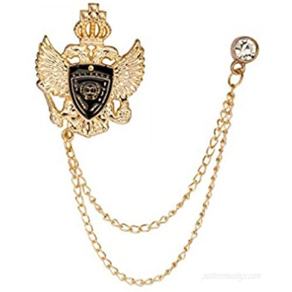 Knighthood Double Headed Eagle Shield and Crown Lapel Pin Badge Coat Suit Jacket Wedding Gift Party Shirt Collar Accessories Brooch