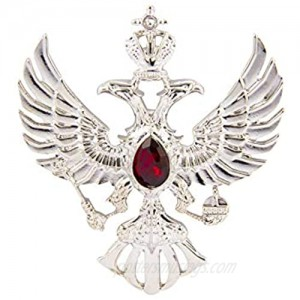 Knighthood Double Headed Eagle with Winged Stone Detailing Lapel Pin Badge Coat Suit Jacket Wedding Gift Party Shirt Collar Accessories Brooch