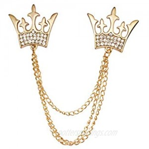 Knighthood Double Kings Crown with Stone Detailing Chain Lapel Pin Badge Coat Suit Jacket Wedding Gift Party Shirt Collar Accessories Brooch