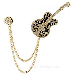 Knighthood Gold Swarovski Guitar with Sunshine and Hanging Chain Brooch Golden