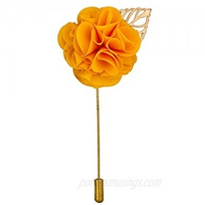 Knighthood Handmade Yellow Flower Bunch with Gold Leaf Lapel Pin Badge Coat Suit Wedding Gift Party Shirt Collar Accessories Brooch for Men Yellow