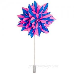 Knighthood Men's Avaron Projekt Handmade Pink and Blue Striped Flower Lapel Pin/Brooch Pink