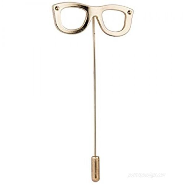 Knighthood Men's Gold Spectacles Frame Lapel Pin/Shirt Stud Golden