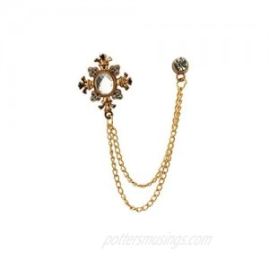 Knighthood Transparent Stone with Rose Gold Engraving Hanging Chain and Swarovki Detailing Brooch Lapel Pin