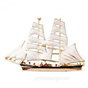Knighthood White and Gold Sail Boat Lapel Pin for Men and Women LP-45