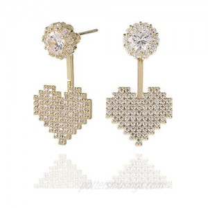 18K Gold Plated Hypoallergenic Stud Earrings Pave Cubic Zirconia Fashion Letter Initial Earrings Clear with Nice Gifts Box