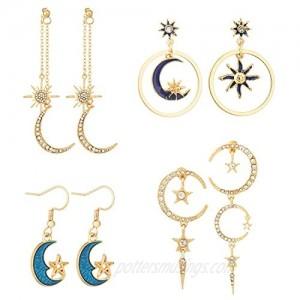 4 Pairs Moon And Star Earrings Sun And Moon Drop Earrings Celestial Space Earrings With Asymmetrical Design Earrings Jewelry for Women Girls
