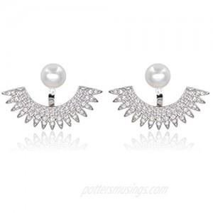 5mm Pearl Stud Front-Back Micropave Jacket Earrings Platinum Plated