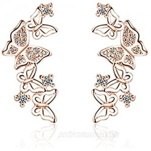 Bow Stud Earrings Creative Fashion Elegant Diamond Long Rose Gold Creative Butterfly Flying Stud Earrings