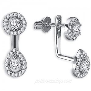 Double Sided Front Back 2 in 1 Cubic Zirconia Stud and Ear Jacket Earrings