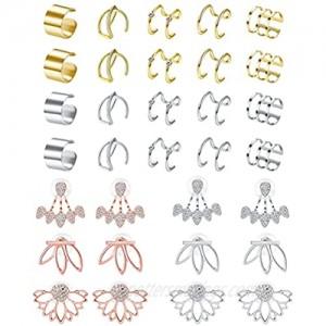 Drperfect Ear Jacket Earrings for Women Cuff Earrings Clip on Cartilage Earring Set
