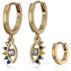 Lucky Brand Rainbow Pave Huggie Earring Set Two Tone