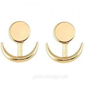 RUIZHEN Crescent Moon Earrings Ear Jackets Geometric Round Stud Earrings for Women Sun Moon Earrings