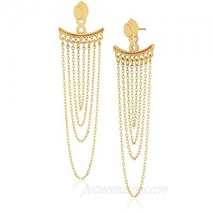 Satya Jewelry Gold Plated Petals Chain Earrings Jacket