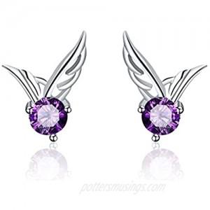 Silver Hoop Earrings for Women Purple Sterling Silver Small Earring for Girls Sensitive Ears Hypoallergenic