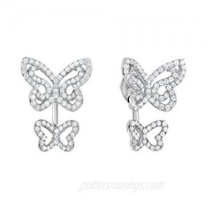 Sterling Silver 1.70 ct.t.w. CZ Double Butterfly Front-back Earrings