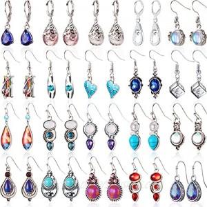 20 Pairs Teardrop Crystal Drop Dangle Earrings for Women Multicolor Boho Hoop Earrings Colorful Hook Dangle Earrings Christmas Favor for Girls