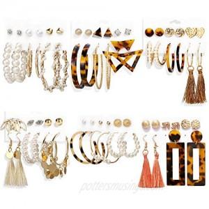 35 Pairs Fashion Tassel Dangle Earrings Set  Bohemian Acrylic Leopard Hoop Earrings for Women & Statement Drop Earrings for Girls  Pearl Stud Earrings Jewelry Gifts