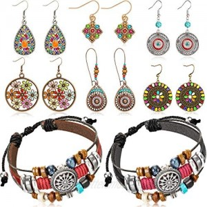 6 Pairs Bohemian Vintage Dangle Earrings Boho Retro Rhinestone Drop Earrings and 2 Pieces Vintage Bohemia Beaded Bracelet Multi-layer Woven Bracelet Jewelry for Women Girls