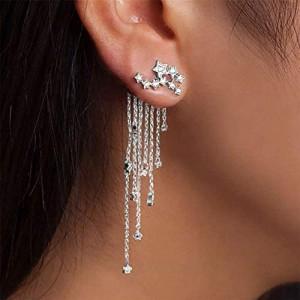 Denifery Shining Stars Tassel Earrings Hanging Exquisite Earrings for Women and Girls