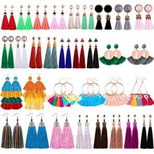 Duufin 32 Pairs Tassel Earrings Colorful Bohemian Tassel Earring Long Layered Dangle Earrings Tassel Drop Hoop Fringe Tiered Earrings for Women Girls