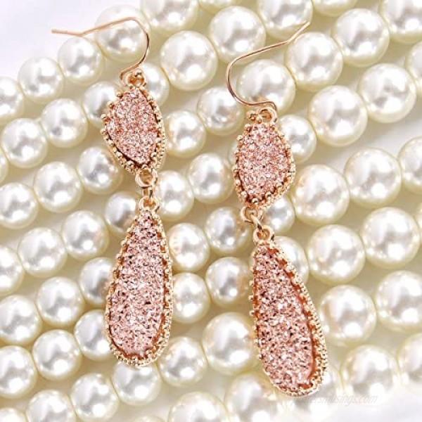Humble Chic Simulated Druzy Drop Dangles - Boho Glitter Long Double Teardrop Dangly Earrings for Women - Bohemian Created Geode Stone Sparkly Pendants