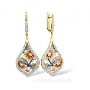 Santuzza Dragonfly Dangle Earrings 14k Yellow Gold Plating 925 Sterling Silver White Cubic Zirconia Enamel Flower Drop Earring Jewelry For Women