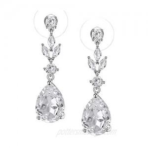 SWEETV Pearl Drop Earrings for Women Bridesmaids Brides -Teardrop Crystal Rhinestones Cubic Zirconia Earrings Dangling