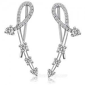 Ear Crawler Mariafashion Cuff Earrings Sterling Silver Ear Climber Leaf Diamond Zircon Stud Earrings