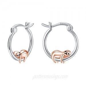 Hypoallergenic Sloth Huggie Hoop Earrings 925 Sterling Silver Small Animal Huggie Cartilage Earring Cute Cuff Hoops Ear Stud for Women.