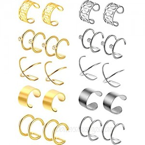 Jovitec 10 Pairs Stainless Steel Ear Cuff Helix Cartilage Clip on Earrings Non Piercing Cartilage Earrings for Women Girls Supplies 5 Styles