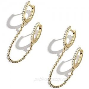 KunxQing 925 Sterling Silver Cuff Chain Double Huggie Earrings Cubic Zirconia Wrap Earrings for Women Crawler Earrings