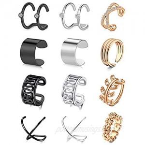 Longita Ear Cuff Earrings for Women Non Piercing Ear Clip On Cartilage Earring Cuff Chain Stainless Steel Dainty Crossed Flower Minimal Conch Jewelry Hoop Earrings Silver Rose Gold Black