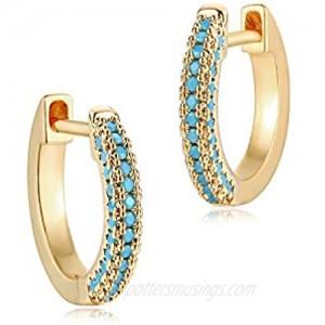 MYEARS Women Gold Huggie Hoop Earrings Ear Stud Cuff Diamond CZ Turquoise Inlay Half Sleeper 14K Gold Filled Tiny Boho Beach Simple Delicate Handmade Hypoallergenic Jewelry Gift