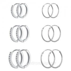 NEWITIN 6 Pairs Hoop Earrings 925 Sterling Silver Earring Stud Hypoallergenic Earrings Cubic Zirconia Huggie Earrings Piercing Ear Cuff Cartilage Hoop Earrings for Women Girls