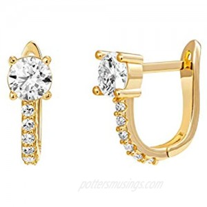 PAVOI 14K Gold Plated Cubic Zirconia Cuff Earrings Huggie Stud with Main Stone