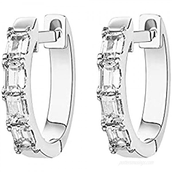 PAVOI 14K Gold Plated S925 Sterling Silver Post Baguette Cubic Zirconia Cuff Earrings Huggie Stud