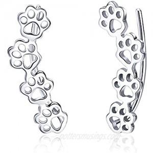 Paw Ear Cuff Wrap Crawler Climber Earrings for Women Teen Girls Sterling Silver Studs Clip On Cute Dog Cat Pin Hypoallergenic Jewelry