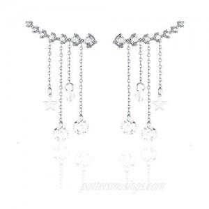 Reffeer Crawler Earrings Tassel Star Chain for Women Teen Girls Climber Earrings Cuff Wrap Earrings Droplet Dangle Chain 7 Crystals
