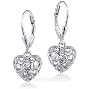 S925 Sterling Silver Heart Dangle Drop Leverback Clasp Lever back Earrings for Women