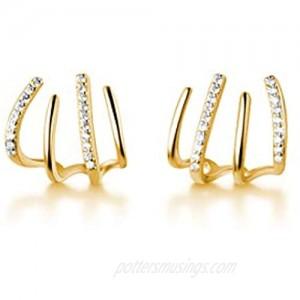SLUYNZ 925 Sterling Silver Cool CZ Cuff Stud Earrings for Women Teen Girls Minimalist Studs Earrings Wrap